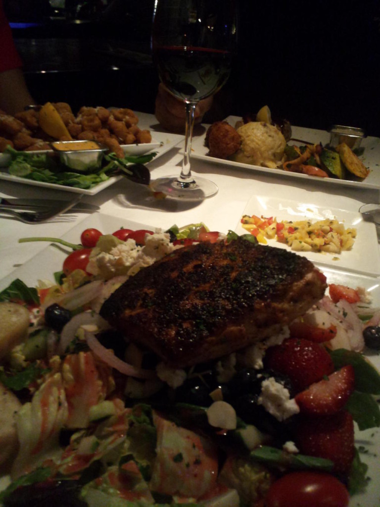 Dinner at The Fish House in Pensacola. Jocelyn had mahi over a salad...