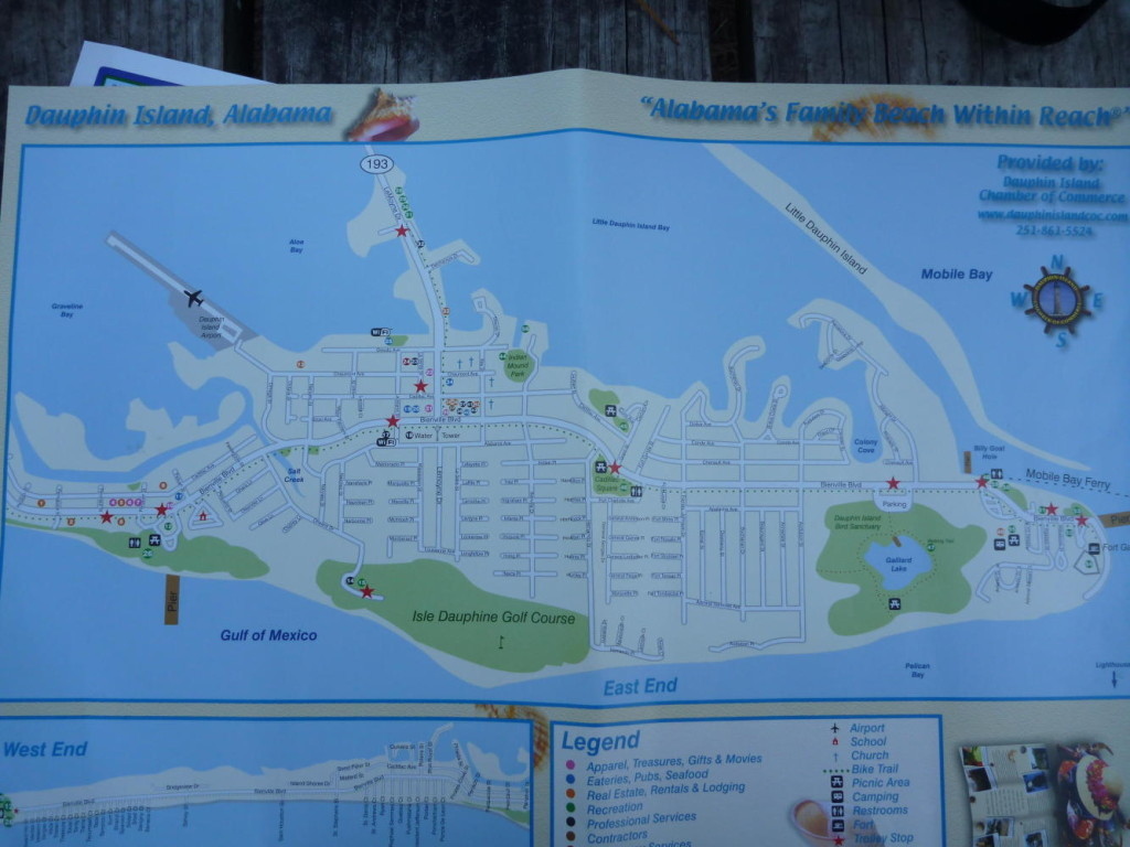 A map of Dauphin Island.