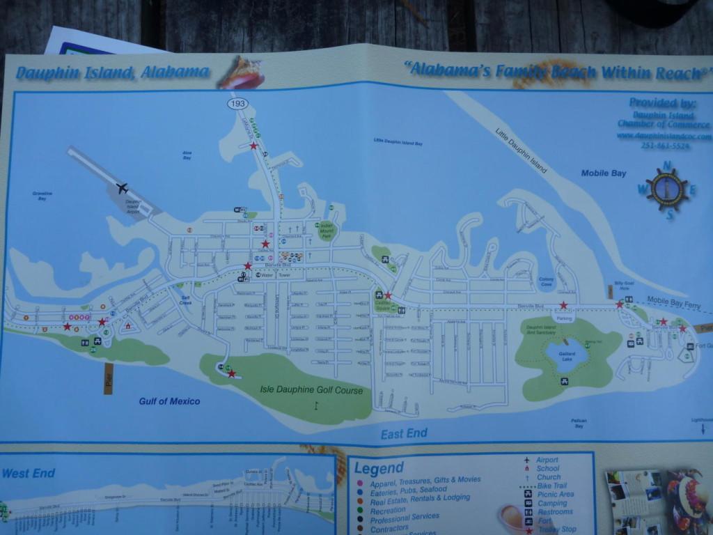A map of Dauphin Island.