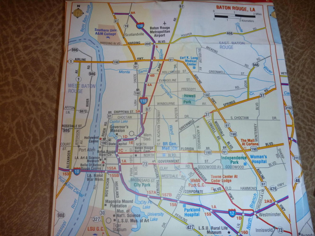Studying the map to Baton Rouge.