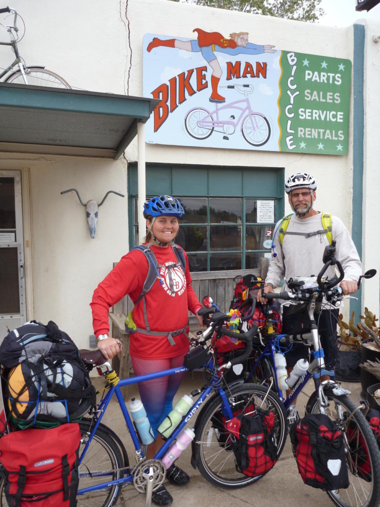 A big thanks to John the Bikeman in Alpine, Texas for getting us back on the road.