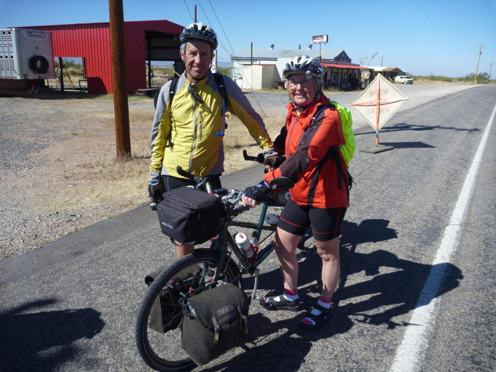 Fellow crazyguysonabike.com Dave and Jo Whitney on a tandem. We crossed paths with them in Valentine, Texas.