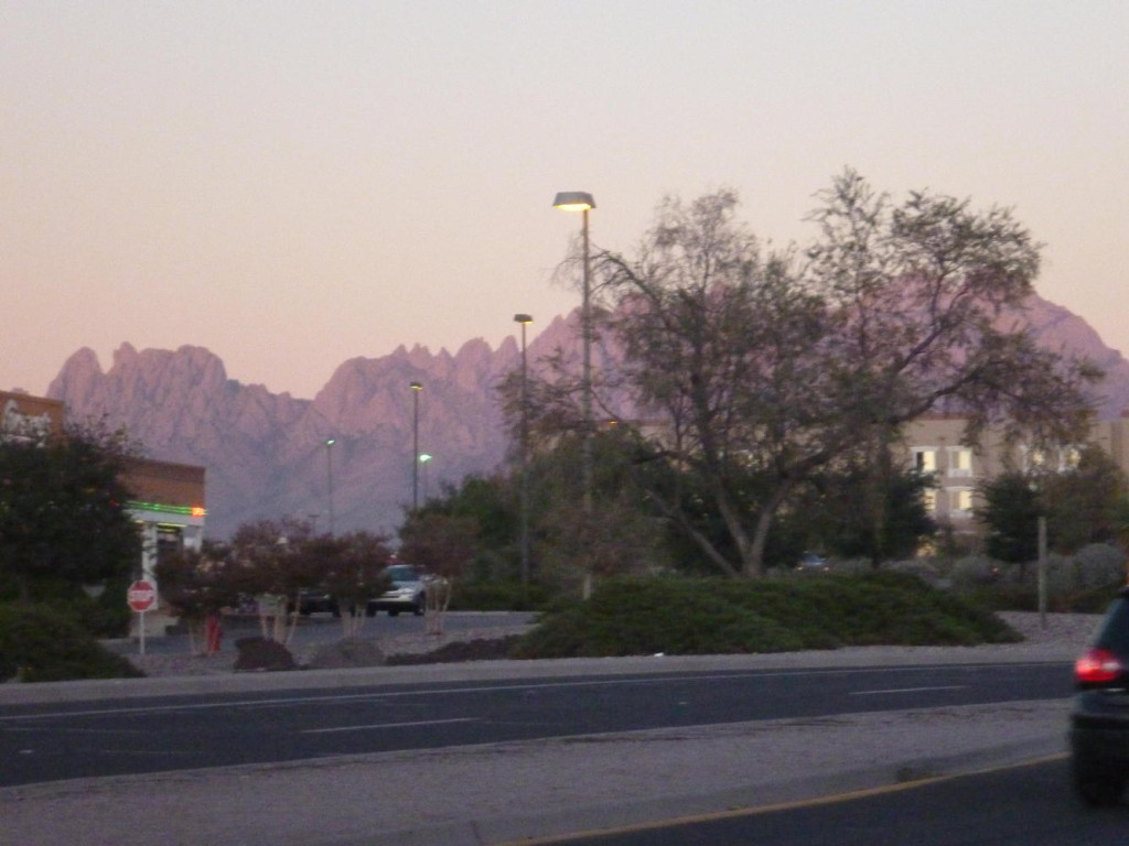 Las Cruces mountains at sunset.