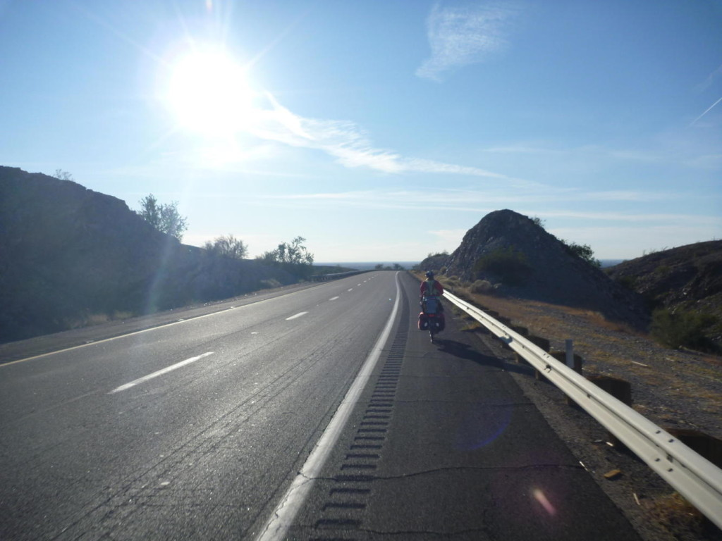 Going down Telegraph Pass into Yuma.