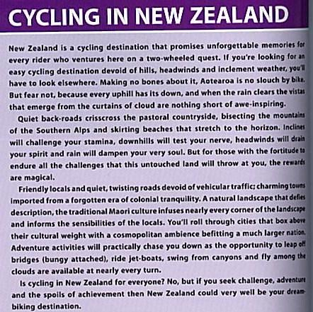 "An excerpt from the Lonely Planet ""Cycling New Zealand"" book."