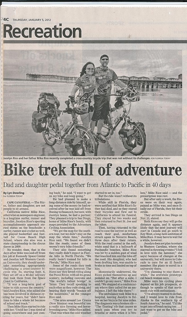 A Florida Today newspaper article about our cross country tour.