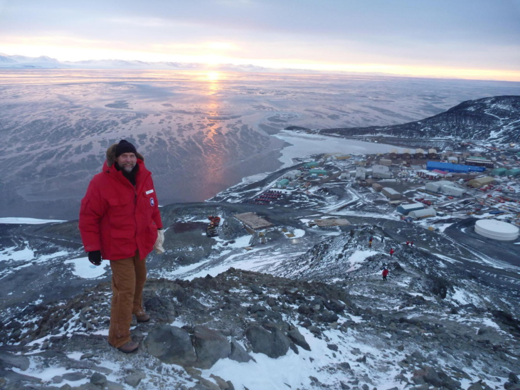 Mike in Antarctica overlooking McMurdo Station.