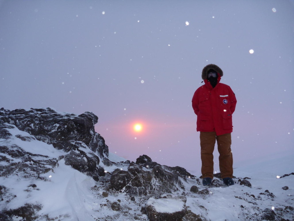 I am spending the 2012 winter in Antarctica. This was taken at the last sunset of the season in April. After four months of darkness the sun rose again September 21.