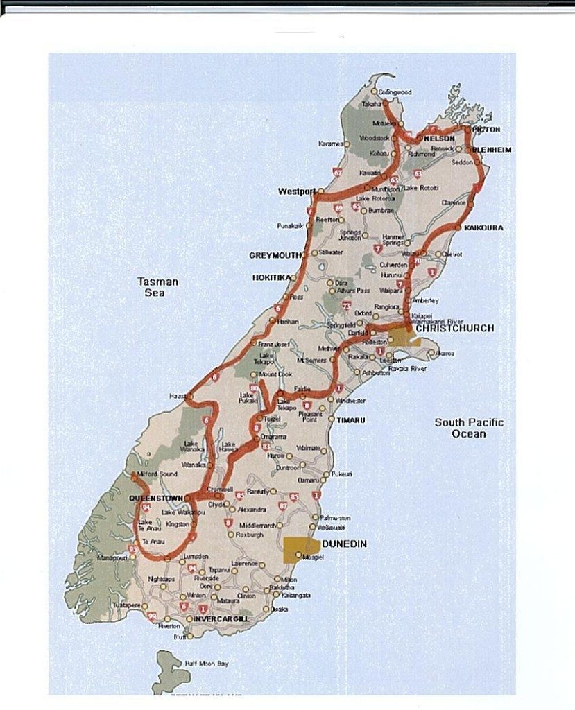 After several emails with Natural High Bike Shop in Christchurch it was suggested that instead of cycling from Queenstown to the east coast and back up to Christchurch on the heavy trafficked SH1 that returning to Christchurch by way of the interior would be more interesting with less traffic. This route would take us up the eastern part of the Southern Alps and Mt. Cook.
