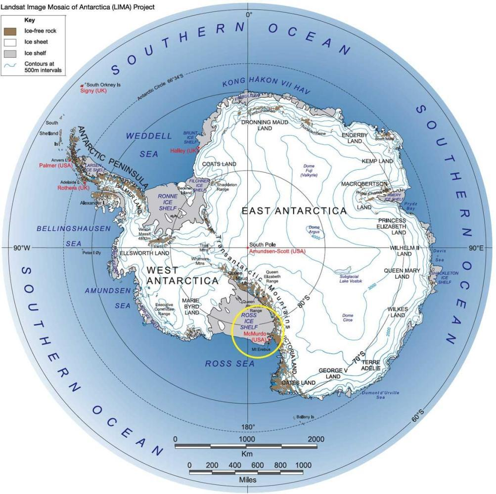 McMurdo Station in the yellow circle. New Zealand is north about 2500 miles.