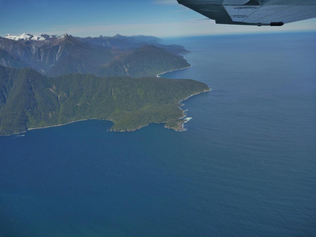 Milford Sound and the Tasman Sea.