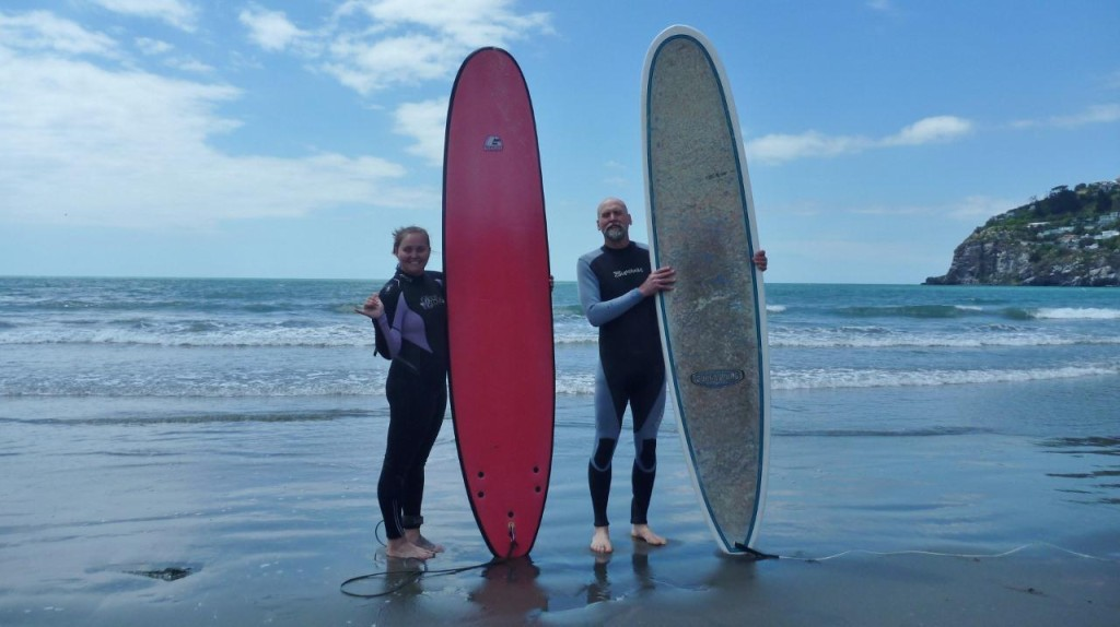 After 39 days on a bicycle what do you do? Go surf! Even though the water was a cool 14.5 degC (58.1 degF) we had a great time in the small surf. This was our first time surfing in the South Pacific! After 1 1/2 hours our feet were numb so we got out. I haven't surfed since January so the water and paddling was much needed. And it was quite warm compared to my last time in the ocean - Antarctica's Ross Sea at 28 degF.