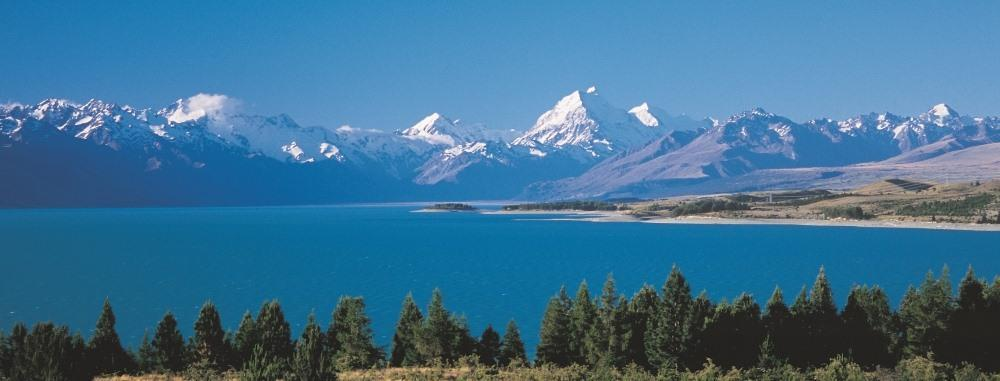 Mt. Cook (right of the middle) 11,262 feet as seen from Lake Pukaki.