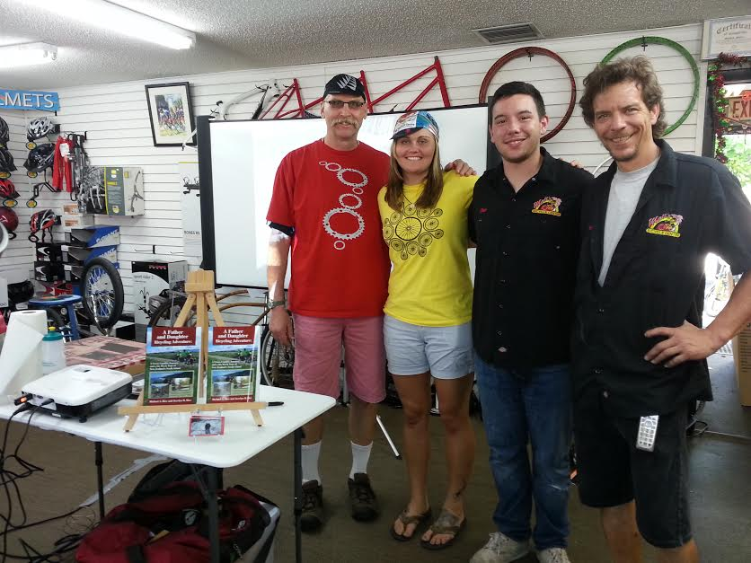 Another book signing at Matt's Bicycle Center in Cocoa Beach. He (on the right) and Chris helped us a great deal preparing for our cross country trip.