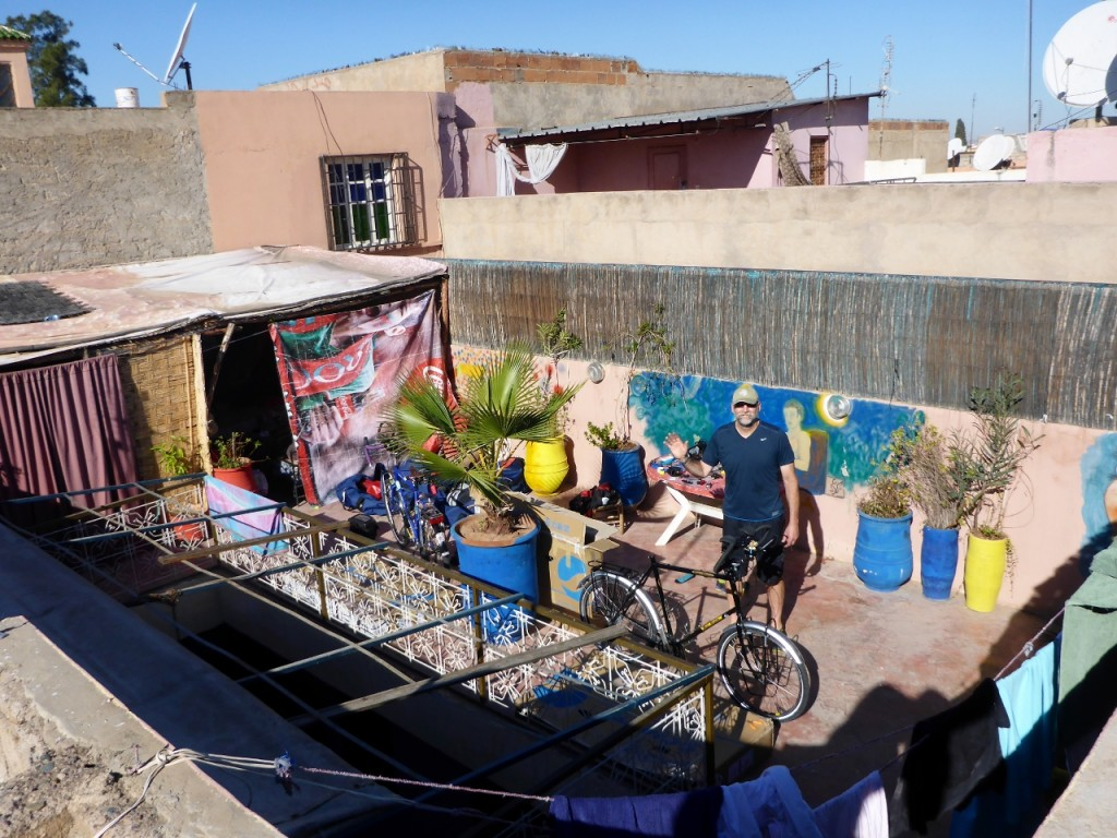 Reassembling our bikes in Marrakech.