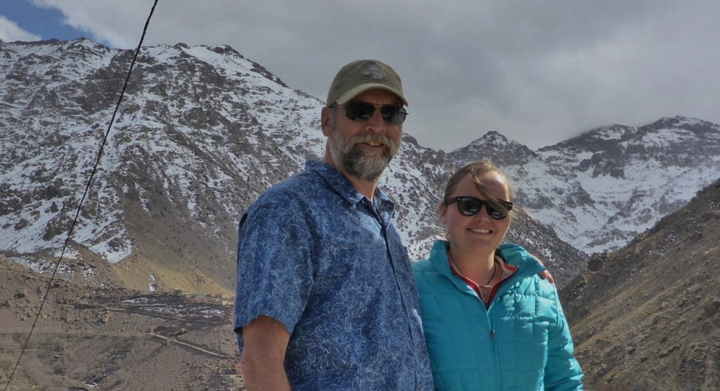 Posing in front of the Atlas Mountains peak. We are standing at around 5,000 feet The last 2,000 being narrow rocky road. It started snowing.
