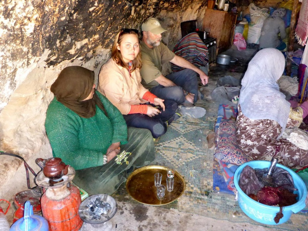 Tea in a nomad cave.