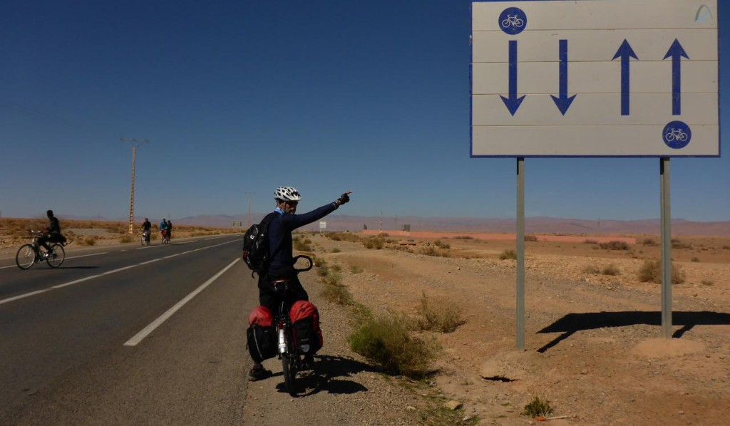 The first bike lane we have encountered in Morocco.