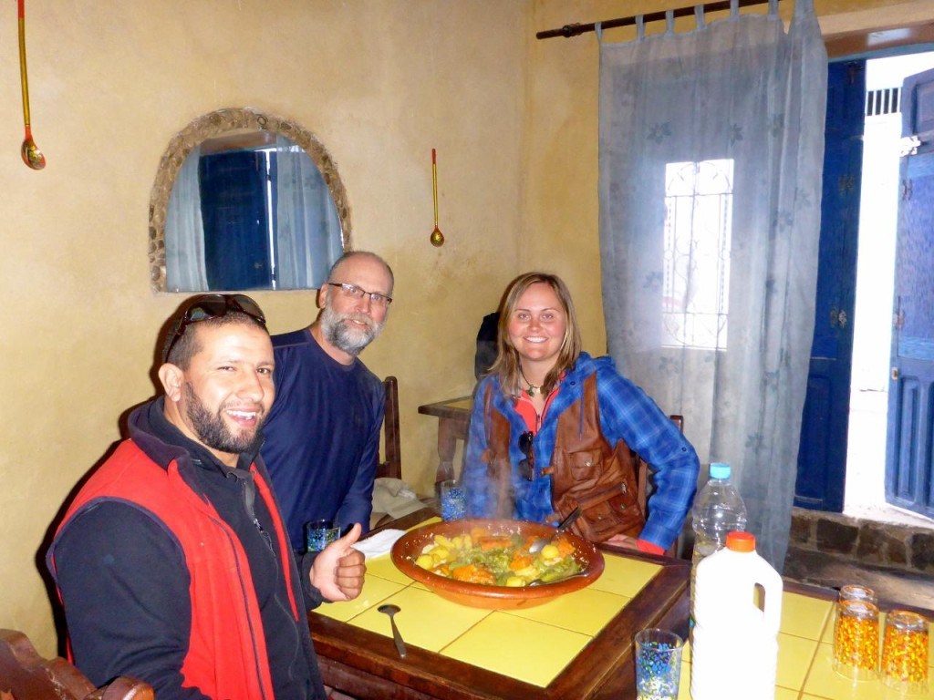 Abraham set us up to stay in the Chechaouene Medina with a local family. We are having our final meal with him.