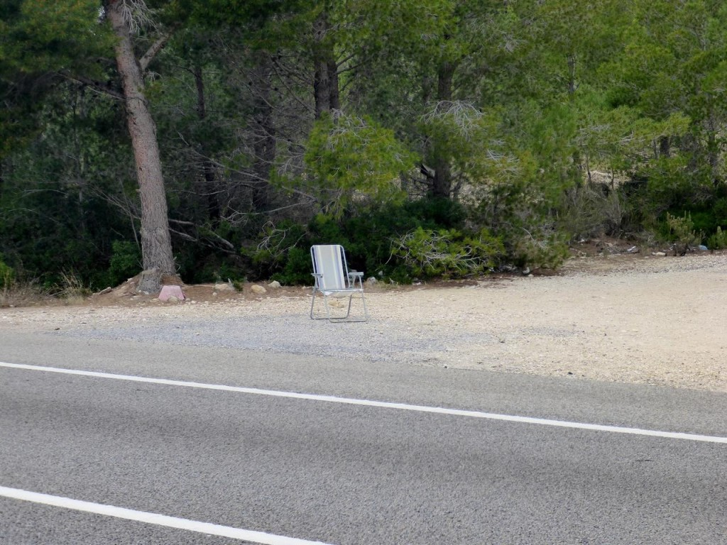 The past several days we have noticed about a dozen random females along side roads just sitting in chairs and looking pretty. I guess this one found business.