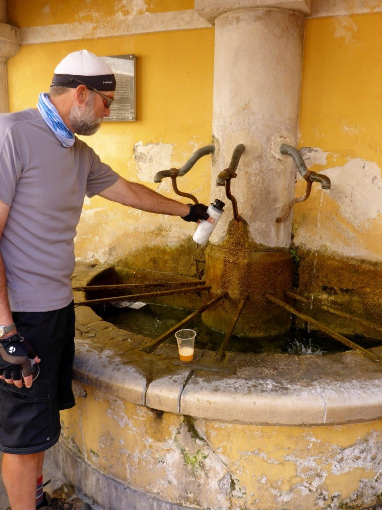 A fountain constructed in 1779 still in use today. Excellent cool water for our bottles.