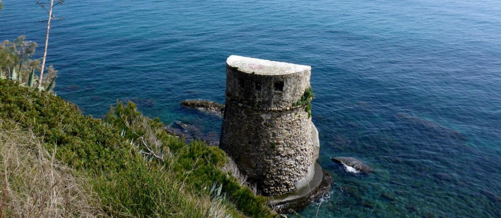 An Italian lookout tower. There are many lining the coast.