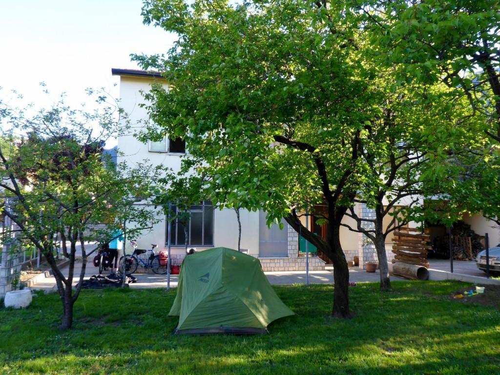 Our camp site in Marko and Melita's garden.
