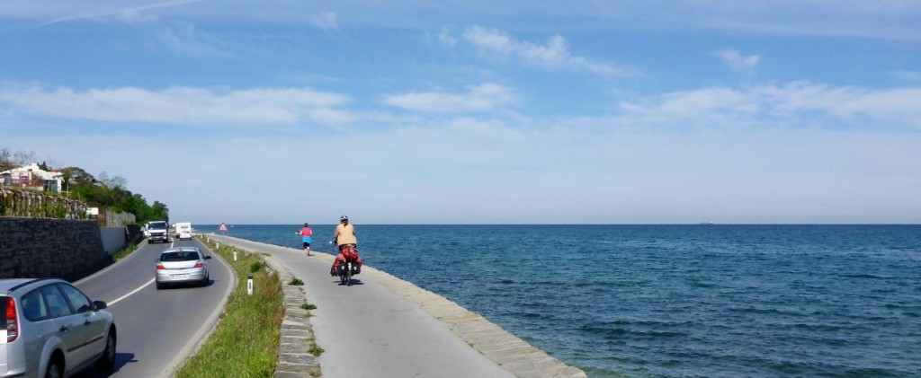 An excellent bike path leaving Koper, Slovenia.
