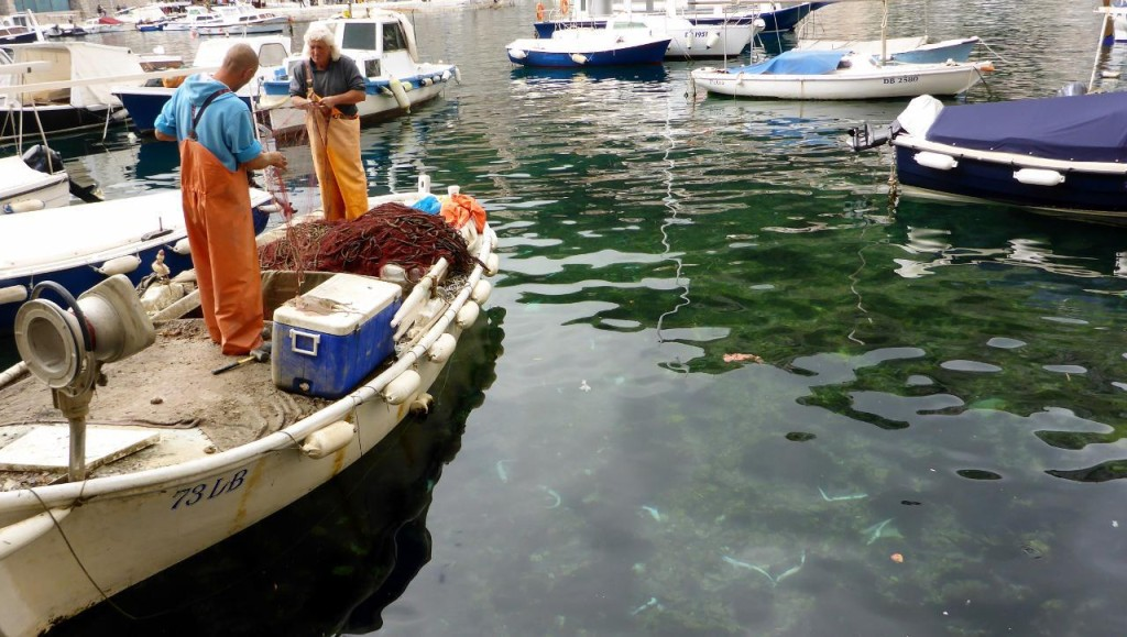 These fisherman were cleaning their nets of sharks and throwing them in the water.