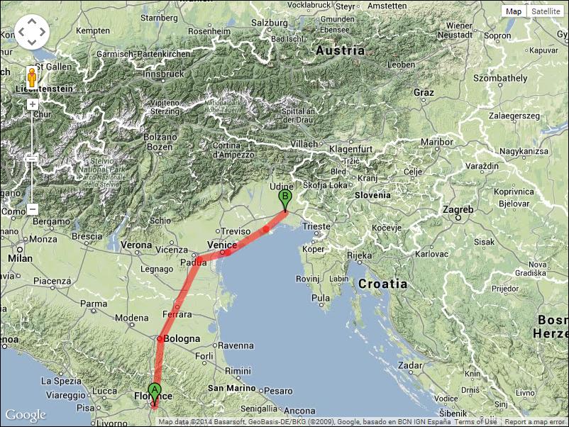 Two train rides - 140 miles, two bikes rides - 79 miles.