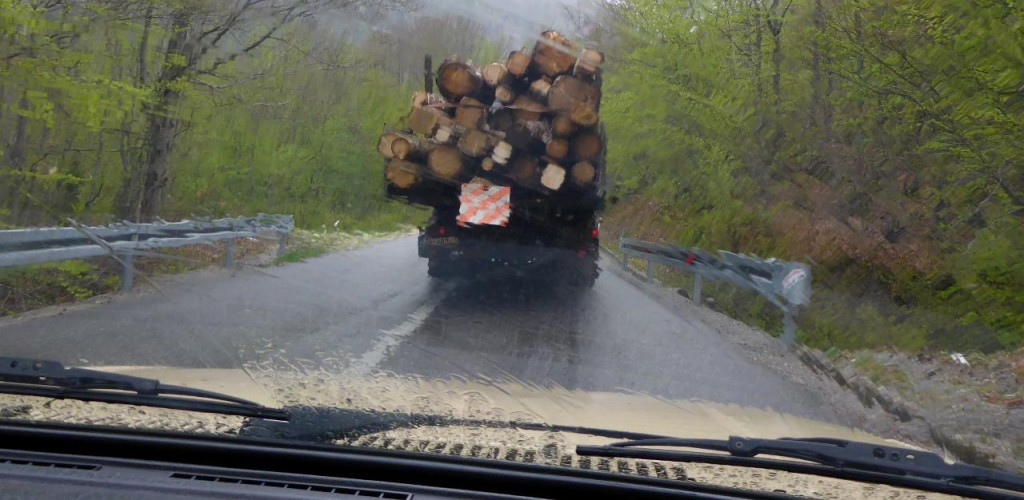 The driver got a little too close to the logging trucks. Raining all day.