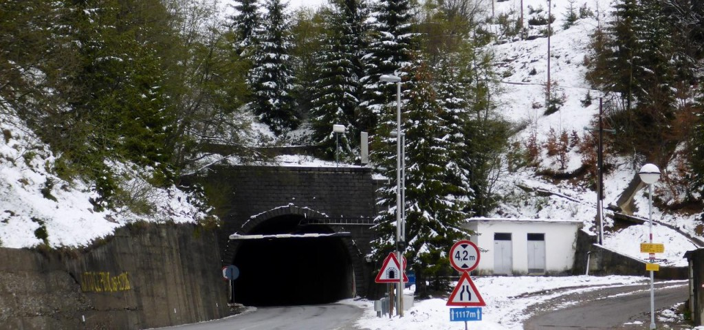 Very, very, scary ride through this 3400 foot tunnel. There were many areas without lights on. Total darkness and when buses and trucks sped by it was so scary. We had our lights on but couldn't really see.