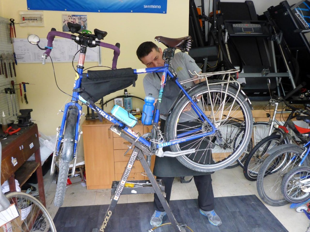 The Bike Doctor at work on Jocelyn's Surly.
