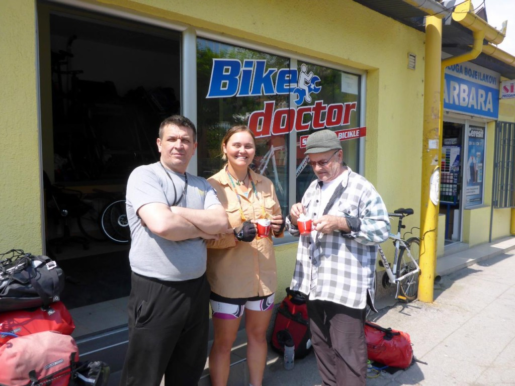 The Bike Doctor and his neighbor. What friendly people!