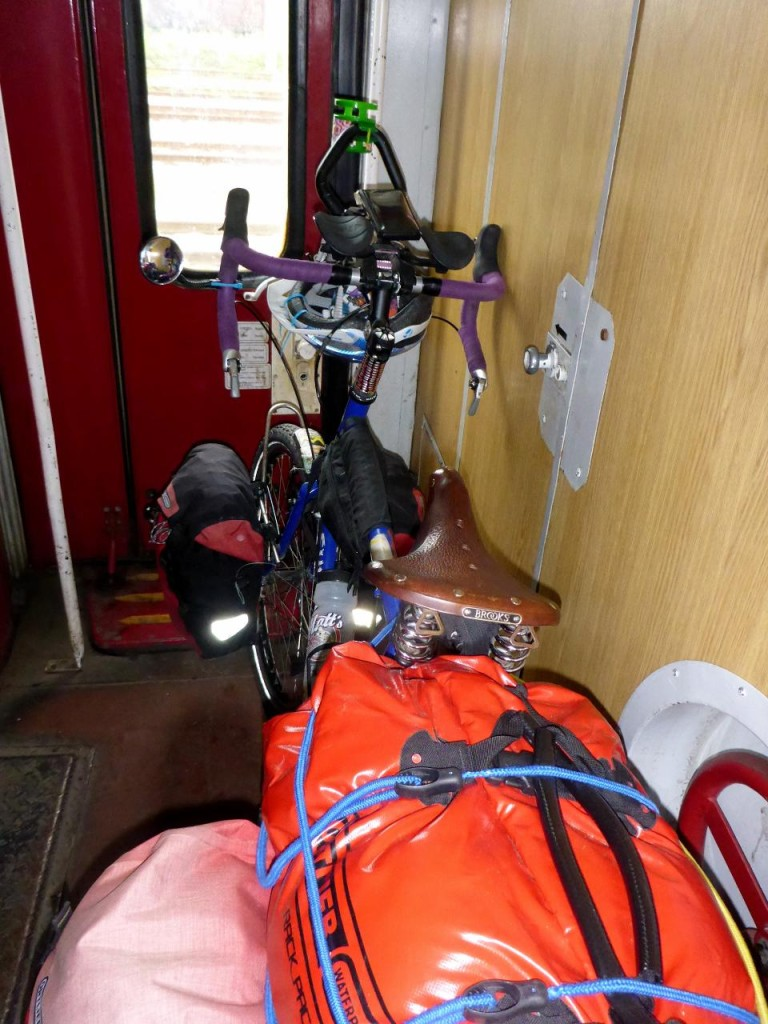 I stood near Jocelyn's bike for the 1 hour 45 minute trip as I continually moved it for access to the water closet.