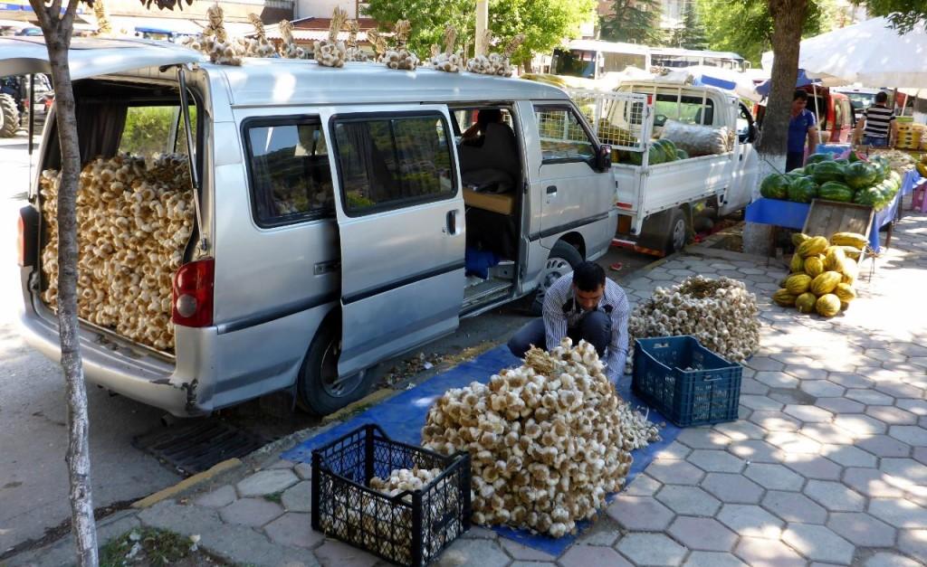 A van full of garlic.
