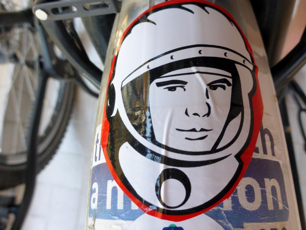 Thanks to my wife Andee my bike is now sporting a Yuri Gagarin sticker.