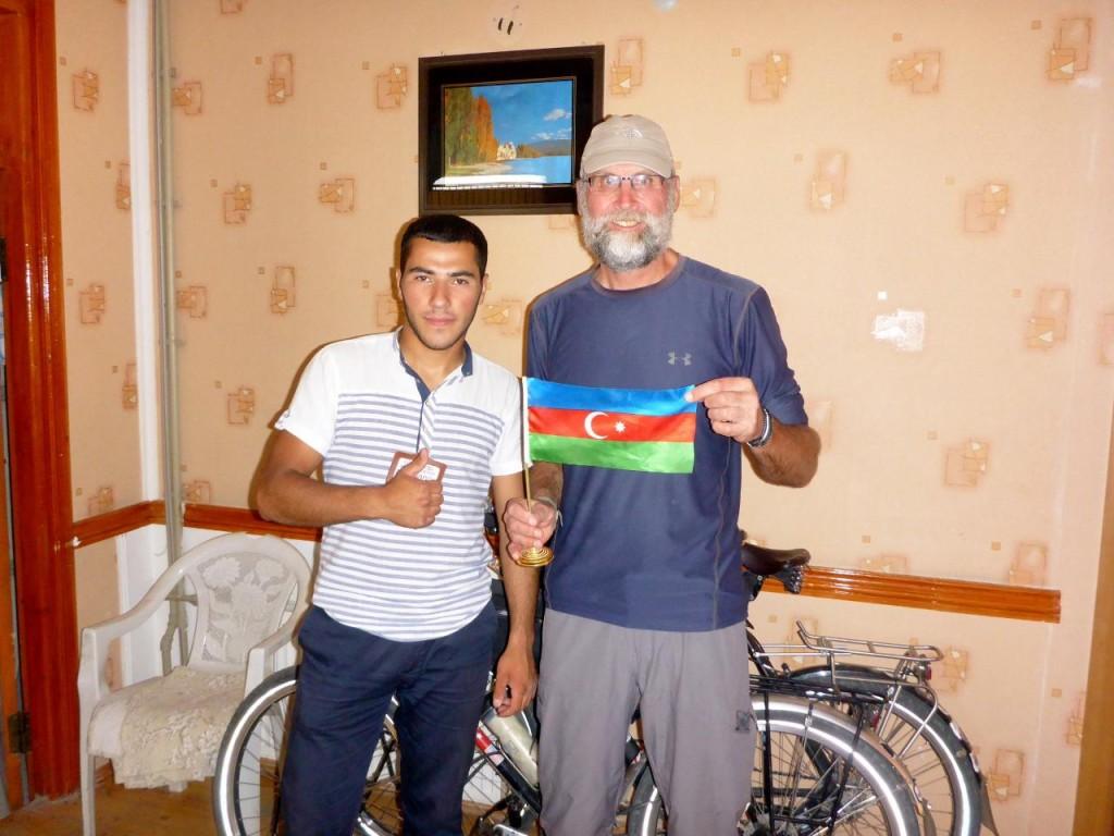 Rashad presenting me with an Azerbaijan flag.