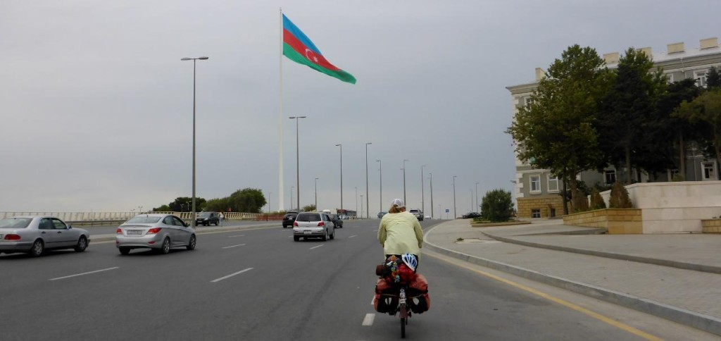 Riding out of Baku, Azerbaijan.