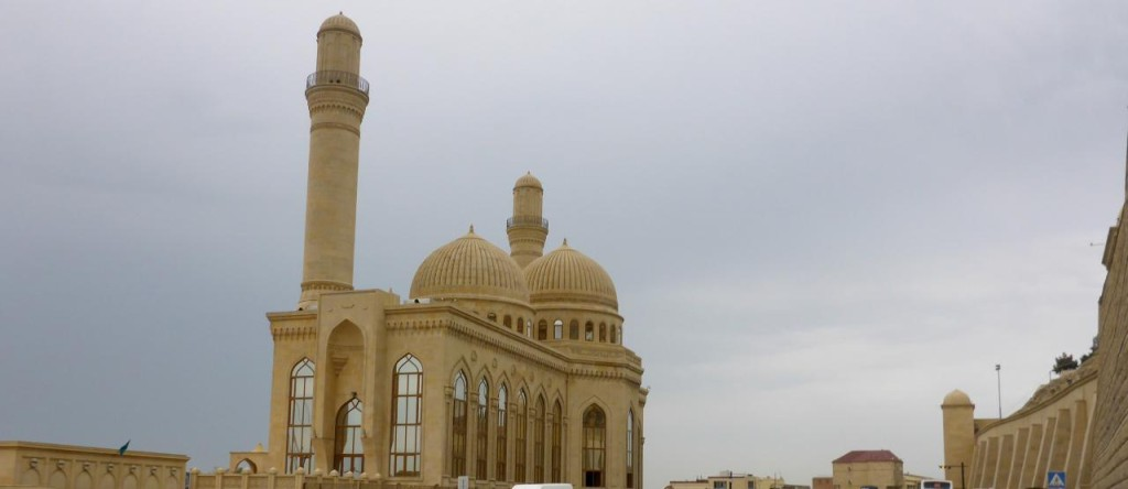 A fine looking mosque on the Caspian Sea.
