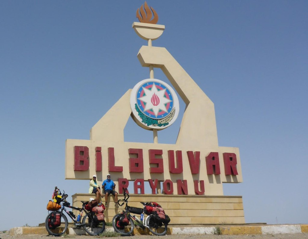 It was another 20 miles of bumpy desert riding before we saw any sign of life. Bilasuvar is the border town with Iran. We will ride into our 19th country tomorrow!