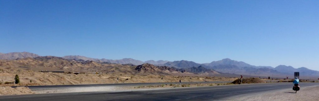 Riding over one last mountain range before dropping down to the Semnan Desert.