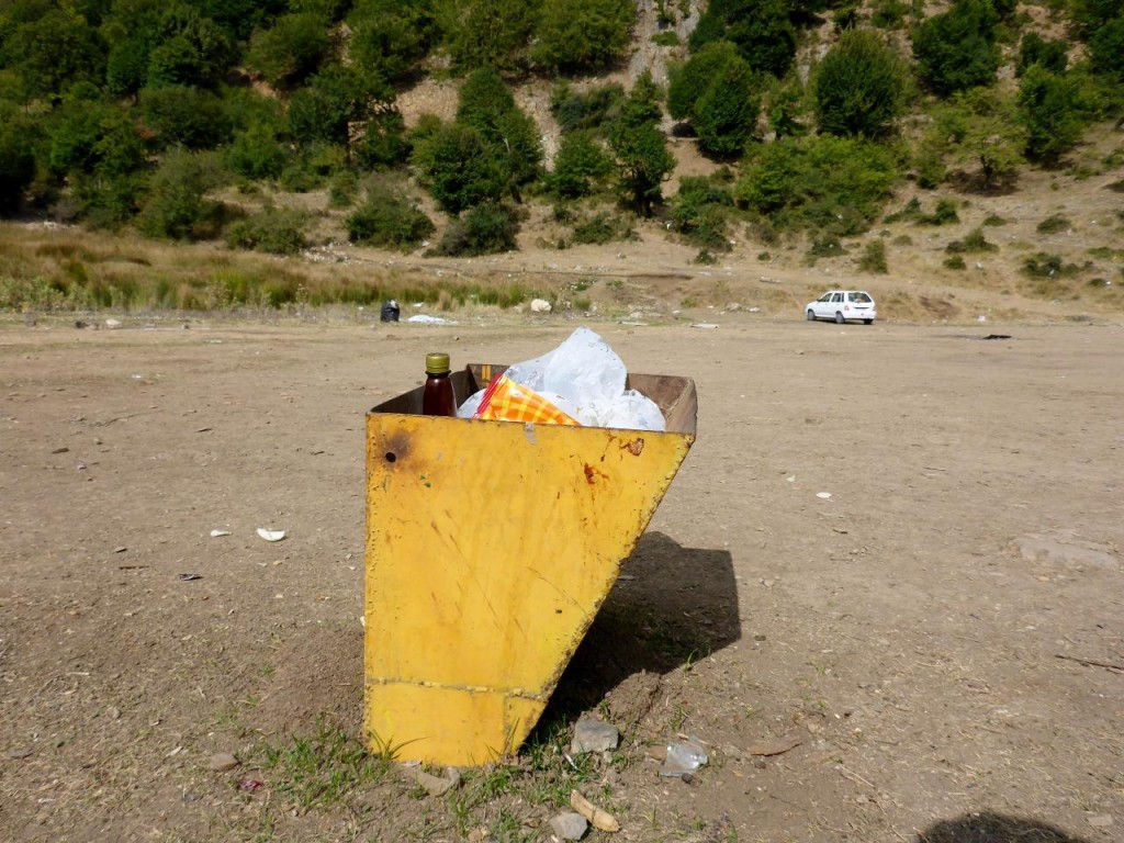 The only trash can in this huge beautiful mountain park. The trash was scattered all over. Sad.