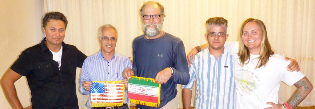 Ehsan, tour leader, Ali from FPA Tours, and son driver Afshin presented us a signed Iranian flag. We in turn signed an American one for them.