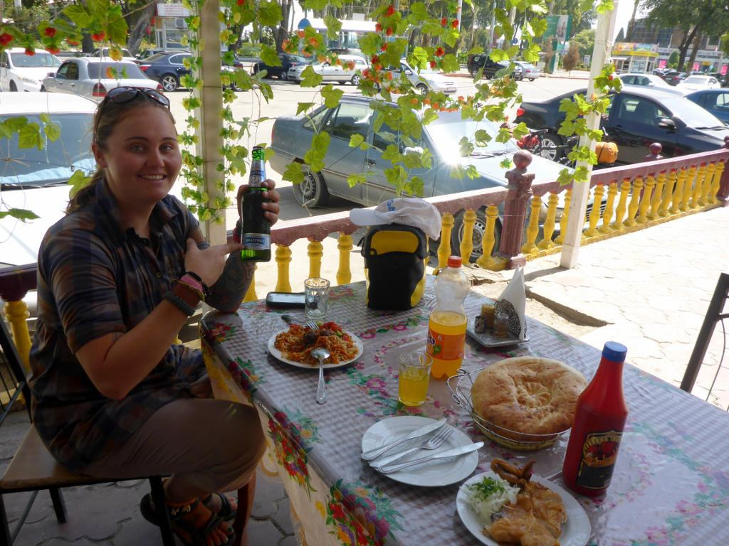 Our first meal in Tajikistan. It is nice to back in a country with choices. Jocelyn chose to uncover even though this is a Muslim country. We also chose to have an alcoholic beer.