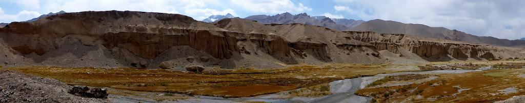 The mountain and rock formations of the Pamirs are stunning along the lonely winding roads.