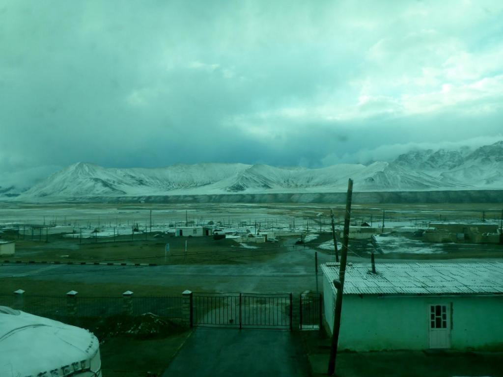 Snowing in Murgab, Tajikistan the morning after our arrival.