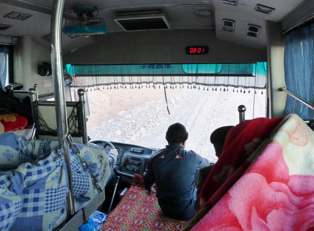 The front of the bus. The road was a bit rough at times. Once at the China border bicycles are not allowed for the next 130 miles to Kashgar. So the bus was really the only way. We could have biked from Osh to the Kyrgyzstan border but then would have been required to find a ride to Kashgar.