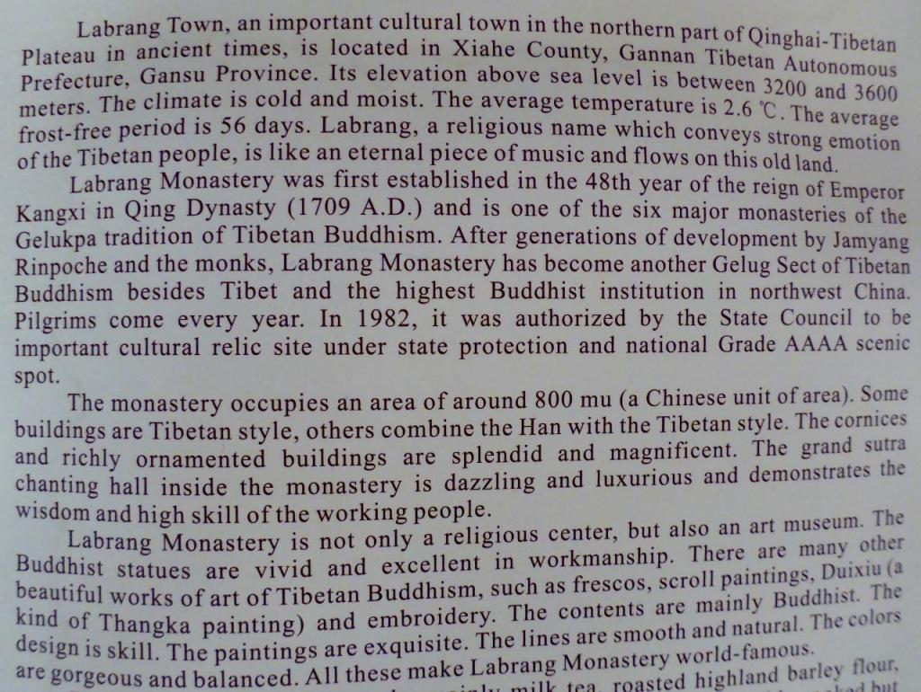 Information about the Labrang Tibetan Monastery.