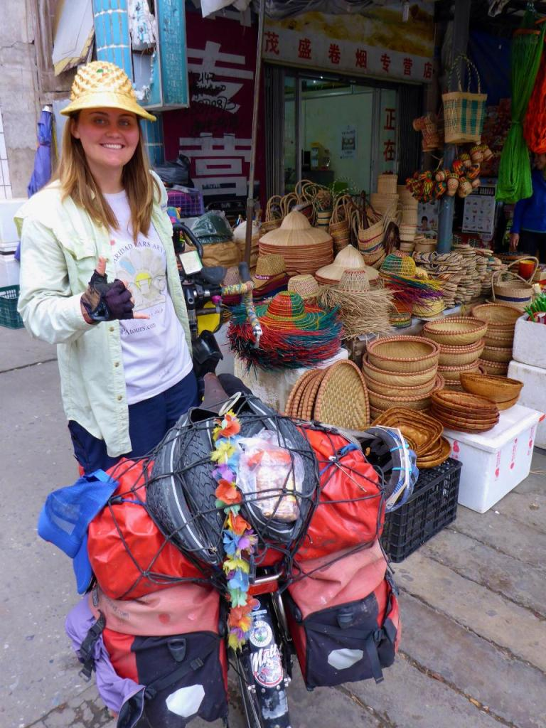 Our last stop in Hekou, China for Jocelyn to buy a hat.